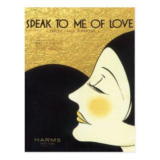 Vintage Speak to Me of Love 1930 Sheet Music Cover Postcard