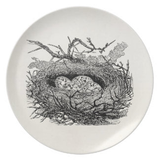 Vintage Speckled Eggs Bird Nest Personalized Birds Plate