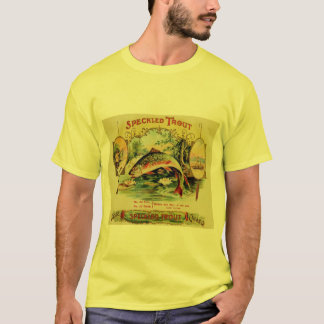 Vintage Speckled Trout Fish Fishing Cigar Label T-Shirt