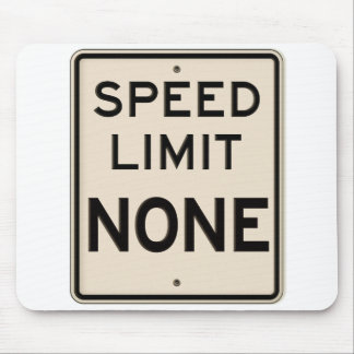 Vintage Speed Limit None Highway Road Sign Mouse Pad