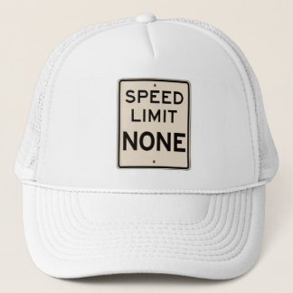 Vintage Speed Limit None Highway Road Sign Trucker Hat
