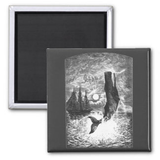 Vintage Sperm Whale Breaching, Marine Life Animals 2 Inch Square Magnet