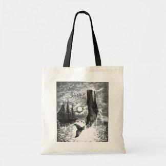 Vintage Sperm Whale Breaching, Marine Life Animals Budget Tote Bag