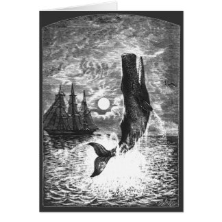 Vintage Sperm Whale Breaching, Marine Life Animals Card