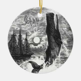 Vintage Sperm Whale Breaching, Marine Life Animals Ceramic Ornament