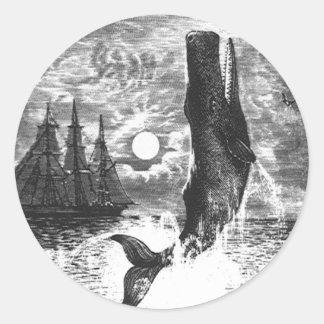 Vintage Sperm Whale Breaching, Marine Life Animals Classic Round Sticker