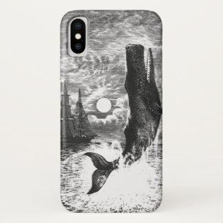 Vintage Sperm Whale Breaching, Marine Life Animals iPhone X Case