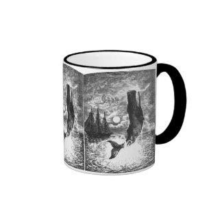 Vintage Sperm Whale Breaching, Marine Life Animals Ringer Mug