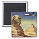 Vintage Sphinx Airplane Desert Pyramids Egypt Giza 2 Inch Square Magnet