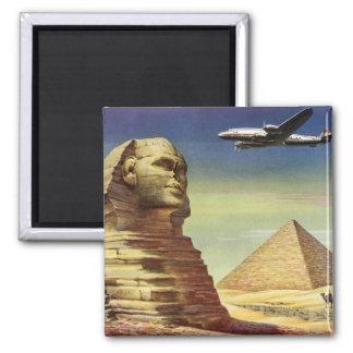 Vintage Sphinx Airplane Desert Pyramids Egypt Giza 2 Inch Square Magnet