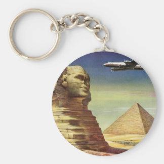 Vintage Sphinx Airplane Desert Pyramids Egypt Giza Basic Round Button Keychain