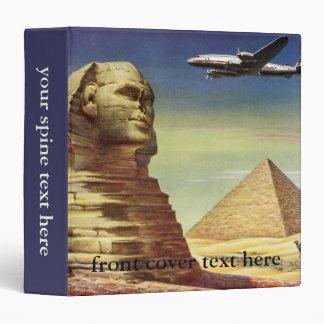 Vintage Sphinx Airplane Desert Pyramids Egypt Giza Binder