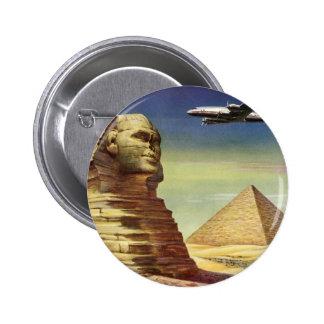 Vintage Sphinx Airplane Desert Pyramids Egypt Giza Pinback Buttons