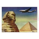 Vintage Sphinx Airplane Desert Pyramids Egypt Giza Greeting Card