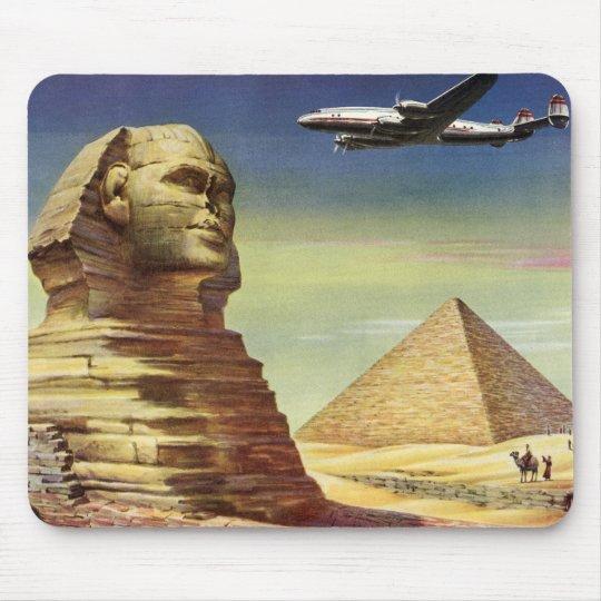 Vintage Sphinx Airplane Desert Pyramids Egypt Giza Mouse Pad