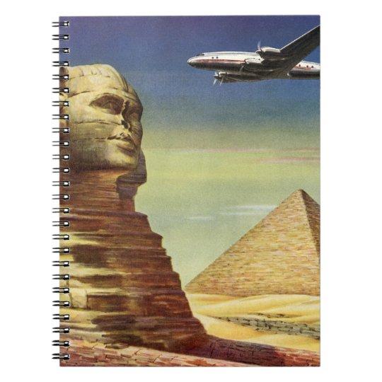 Vintage Sphinx Airplane Desert Pyramids Egypt Giza Notebook