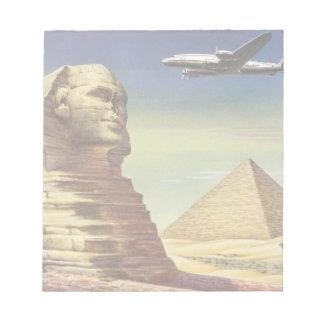 Vintage Sphinx Airplane Desert Pyramids Egypt Giza Notepad
