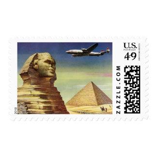 Vintage Sphinx Airplane Desert Pyramids Egypt Giza Postage