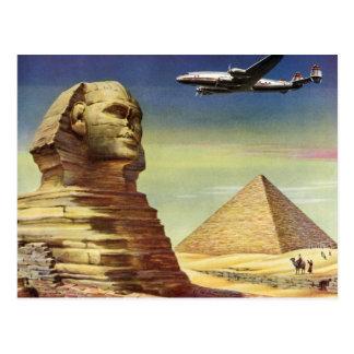 Vintage Sphinx Airplane Desert Pyramids Egypt Giza Post Cards