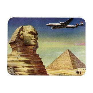 Vintage Sphinx Airplane Desert Pyramids Egypt Giza Rectangular Photo Magnet