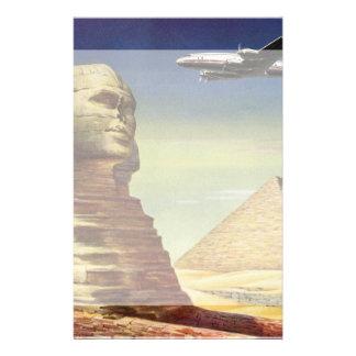 Vintage Sphinx Airplane Desert Pyramids Egypt Giza Custom Stationery