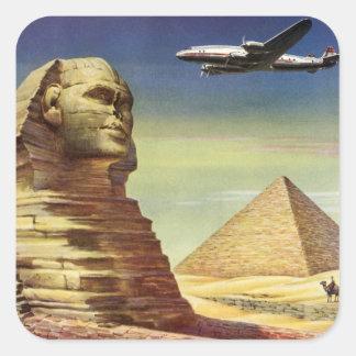 Vintage Sphinx Airplane Desert Pyramids Egypt Giza Square Sticker