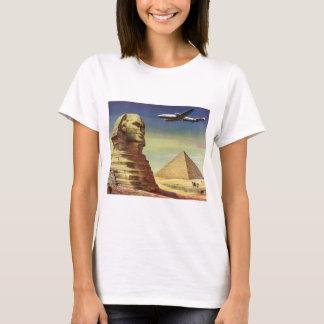 Vintage Sphinx Airplane Desert Pyramids Egypt Giza T-Shirt