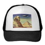 Vintage Sphinx Airplane Desert Pyramids Egypt Giza Trucker Hat