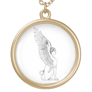 Vintage Sphinx illustration Gold Plated Necklace