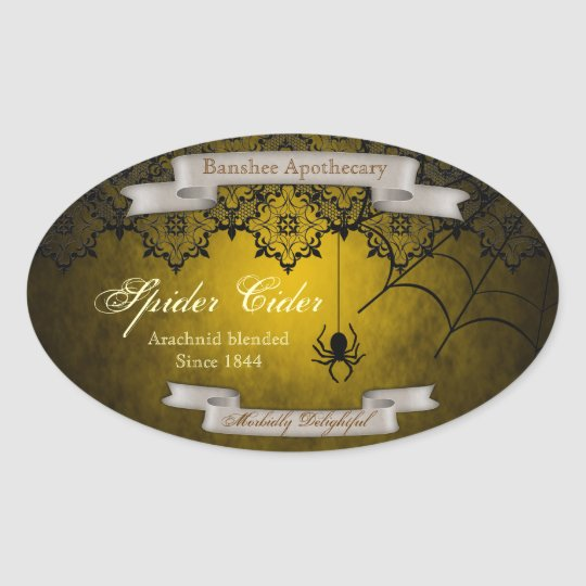 Vintage Spider Cider Halloween Bottle Stickers