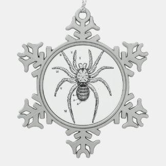 Vintage Spider Diagram Snowflake Pewter Christmas Ornament