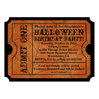 Vintage Spider Web Halloween Birthday Party Card
