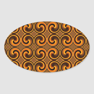 vintage spiral pattern oval Sticker