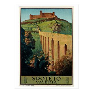 Vintage Spoleto Umbria 1920s Italian travel ad Postcard