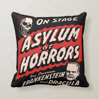 Vintage Spook Show Poster Art - Asylum of Horror Throw Pillows