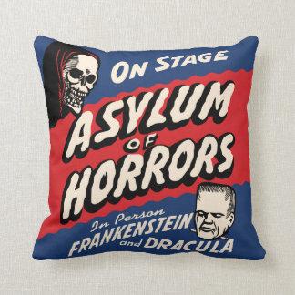 Vintage Spook Show Poster Art - Asylum of Horror Pillows