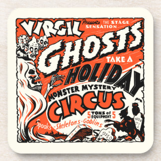 Vintage Spook Show Poster Art - Ghosts on Holiday! Drink Coaster