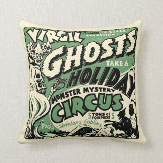 Vintage Spook Show Poster Art - Ghosts on Holiday! Throw Pillow