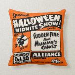 Vintage Spook Show Poster - Halloween Midnite Show Throw Pillow