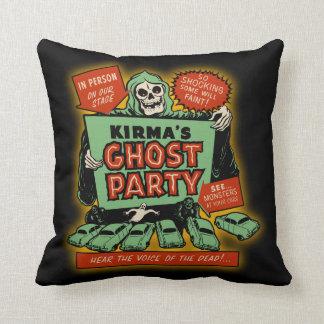 Vintage Spookshow Poster Art - Kirma s Ghost Party Throw Pillow
