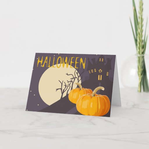Vintage Spooky Halloween Moon and Pumpkin at Night Card