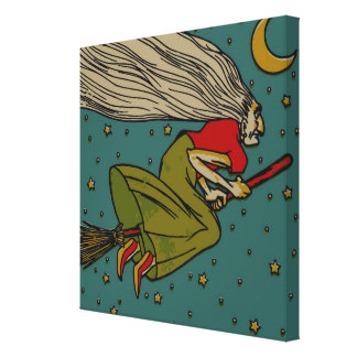 Vintage Spooky Halloween Witch on Broom and Moon Canvas Print