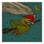 Vintage Spooky Halloween Witch on Broom and Moon Print