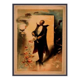 Vintage Spooky Magician Poster Postcard