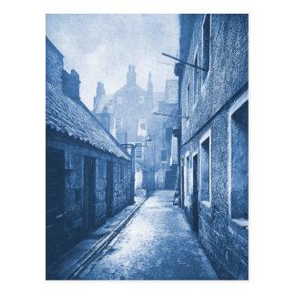 Vintage Spooky Village Alley Photograph Postcard