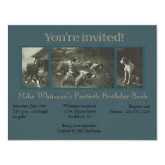Vintage Sporting Dogs Lithograph Invitation