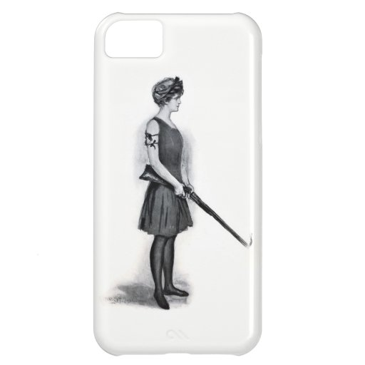 Vintage Sporting Girl w/ Gun Case For iPhone 5C