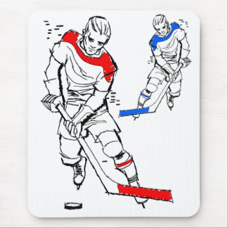 Vintage Sports 50s Hockey Players Illustration Mouse Pad