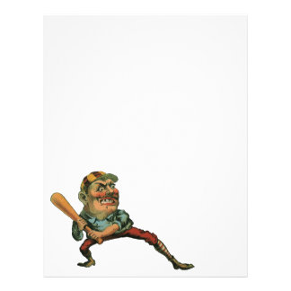 Vintage Sports, Angry Baseball Player Letterhead