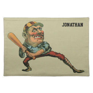 Vintage Sports, Angry Baseball Player Cloth Placemat